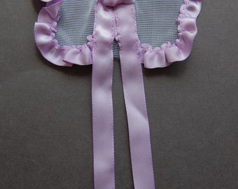Ribbon & Tulle Bow - Lilac/White