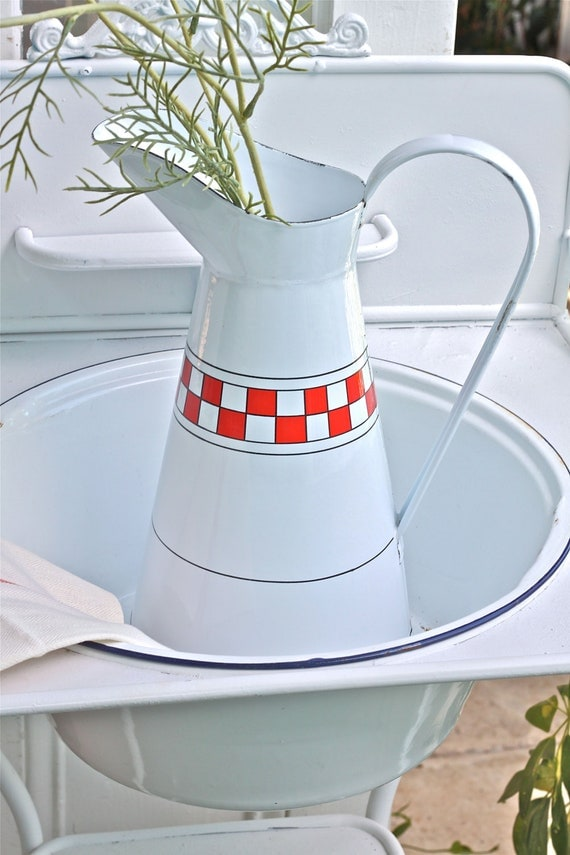 French Enamelware Pitcher - French Farmhouse Style