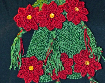 Crochet Pattern PDF - Scarf - Poinsettia Flower - Christmas Holiday Chevron Accessory