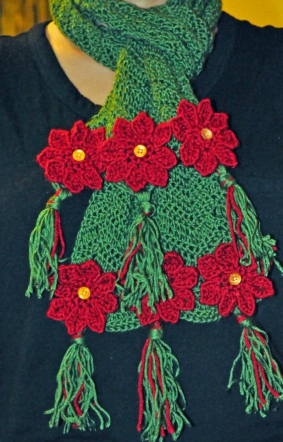 Crochet Pattern PDF - Scarf - Poinsettia Flower - Christmas Holiday ...