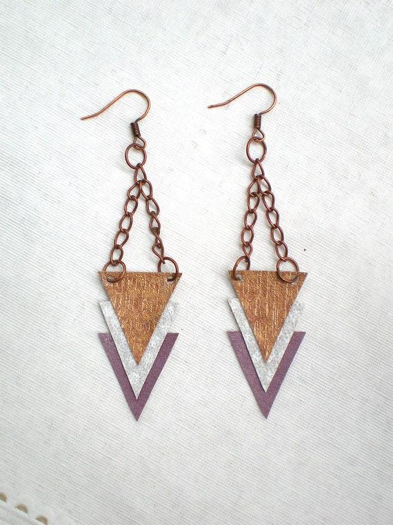 Triangle Dangle Earrings / Arrow Shapes / Geometric Jewelry / Copper Purple