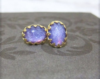 Faux Fire Opal Earrings Nail Polish Shimmer Orchid Lavender Lilac Pink Earring Studs 18K Gold Plated Post Ombre Jewelry MS1