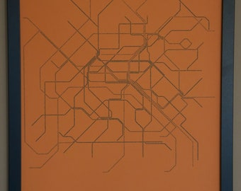 Paris Typographic Transit Map Poster - Orange and Navy