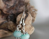 Sea Foam Crystal Earrings with Silver Rings FREE SHIPPING