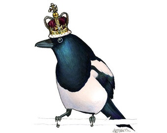 Magpie in St.Edwards Crown - A4 archival quality print