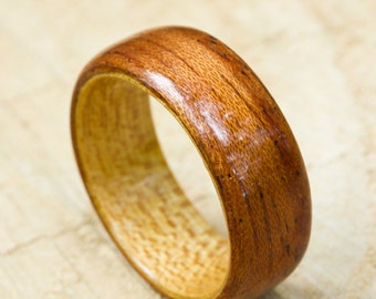 African Mahogany Wood Ring with Quartersawn Elm Liner - Bentwood Ring - And We Plant A Tree:)