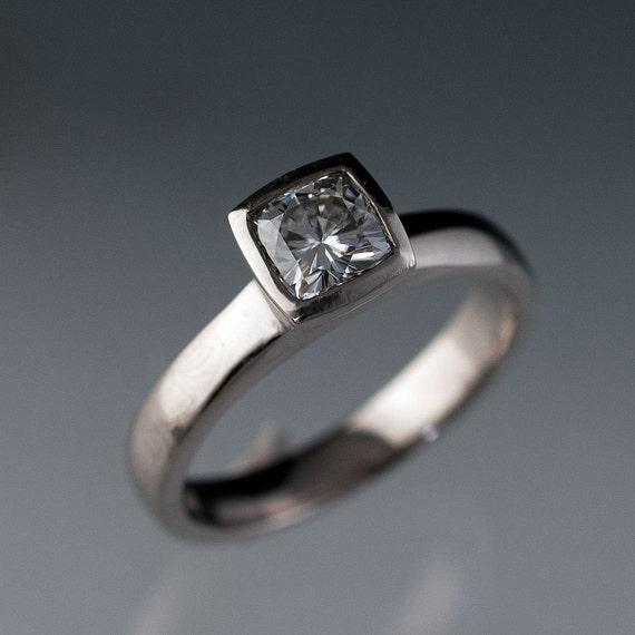 Cushion Cut Forever Brilliant Moissanite Ring, Bezel Set Classic Solitaire Alternative Engagement Ring in nickel Free Palladium White Gold