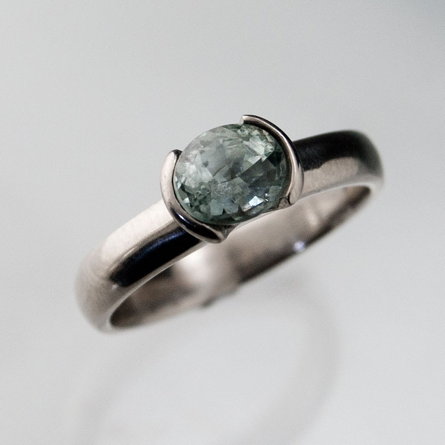Green Montana Sapphire Engagement Ring In Silver Palladium