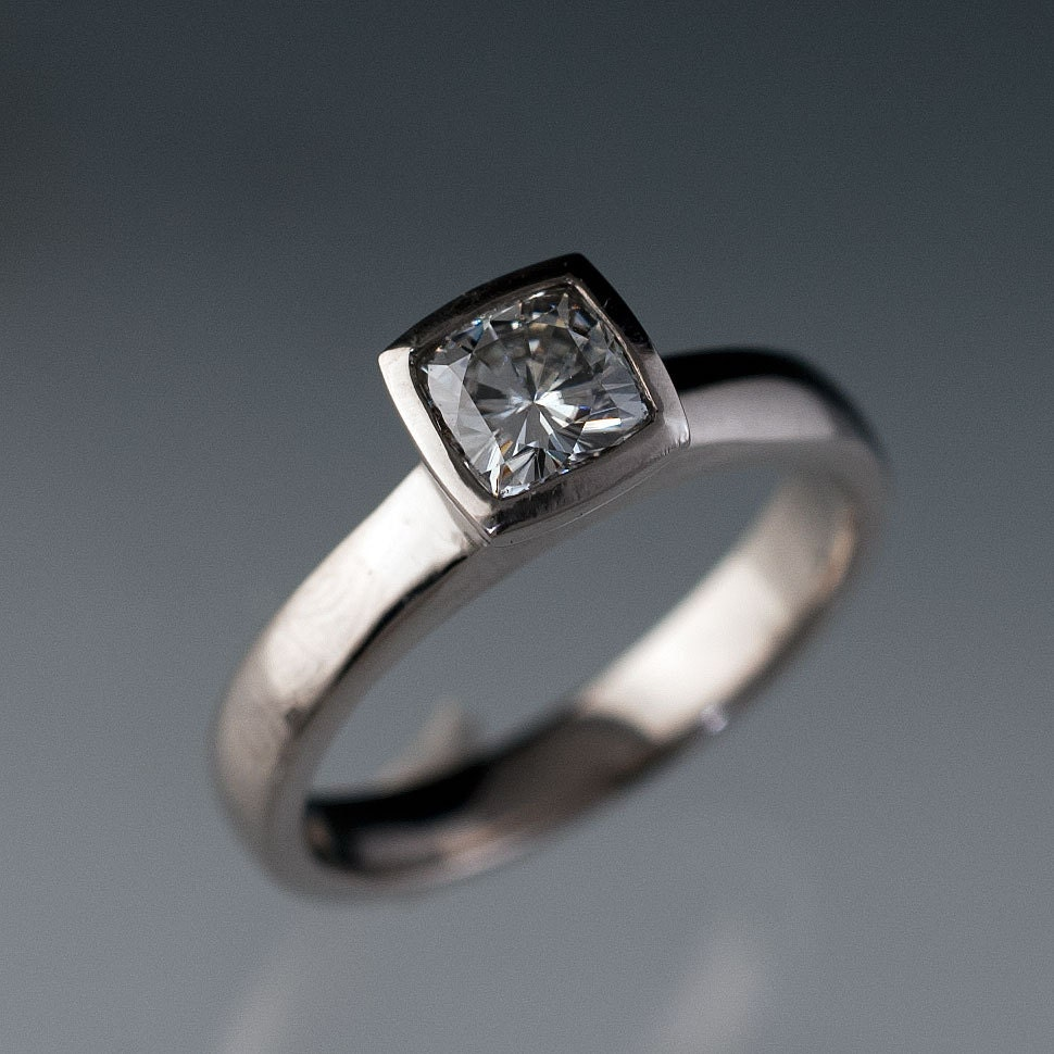 cushion cut colorless forever one moissanite ring bezel set. Black Bedroom Furniture Sets. Home Design Ideas