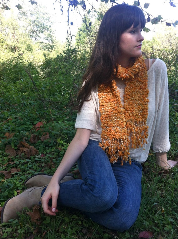 Golden Orange Puff Scarf with Tassels, Pumpkin Autumn Fall Color Knitted Scarf, Luxuriously Soft Yellow Orange