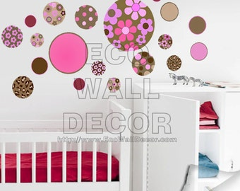PEEL and STICK Removable Vinyl Wall Sticker Mural Decal Art - Multi-Color Floral Circle Spindles