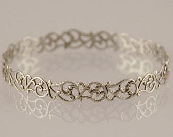 Oxidized Silver Bangle , Filigree Bracelet , Lace Pattern , Bridal Jewelry , Bridesmaid Gift , Filigree Bangle , Fine Silver Bracelet