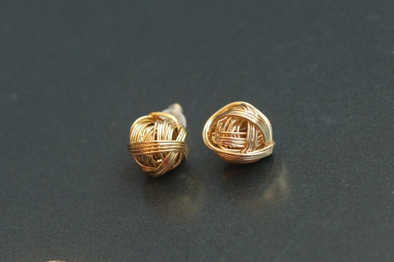 Wire Wrapped Earrings, Gold Ball Studs, Knot Posts