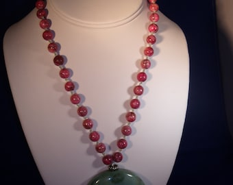 Raspberry and Jade Green Necklace 1575.