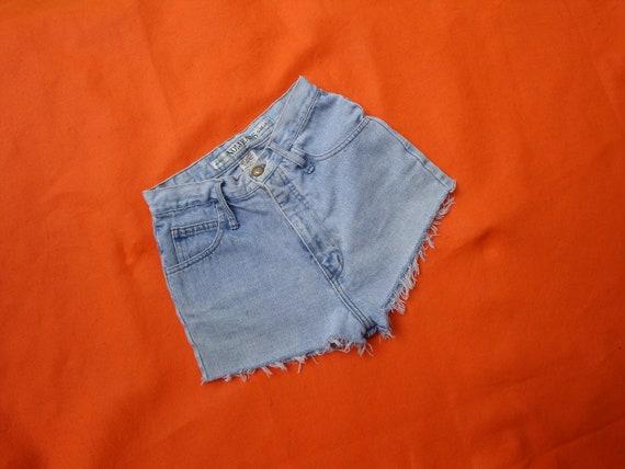 Vintage Cut Off High Waisted Denim Shorts - Short Shorts Booty Upcycled Daisy Dukes NO Jeans Size 26 waist