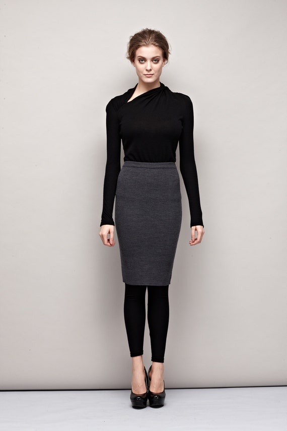 Gray Wool Skirt with Rib Detail-Pencil Skirt-Wool