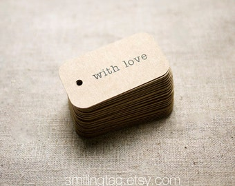 With Love Rustic Wedding Favor Tags - Kraft Gift Tags - Thank you tags - Hang tags - Gift Tags - Swing Tags - Set of 40 (Item code: J325)