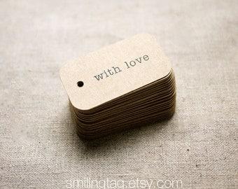 With Love Rustic Wedding Favor Tags - Kraft Gift Tags - Thank you tags - Hang tags - Gift Tags - Swing Tags - Set of 40 (Item code: J325)