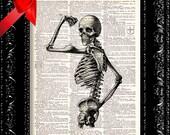Steampunk Strong Man Skeleton -  Vintage Dictionary Print Vintage Book Print Page Art Upcycled Vintage Book Art