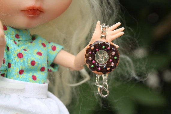 """Blythe donut """"chocolate frosted with rainbow sprinkles"""" pendant necklace  RESERVED"""