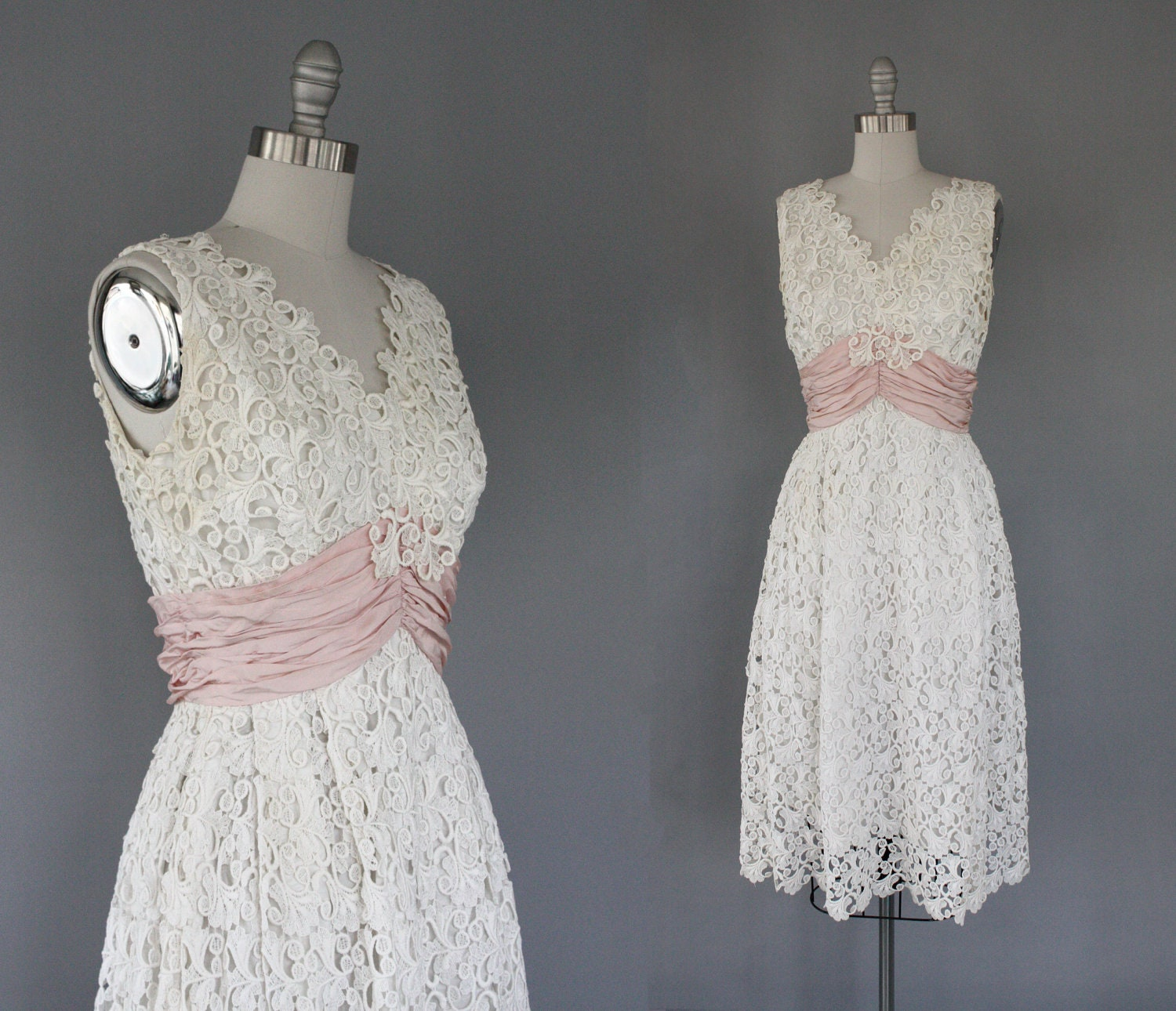 vintage dress 50s white lace formal dress by