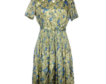 Vintage 1950s Dress /  Vintage 50s Green Dress / 1950s Olive Green and Blue Cut Out Dress