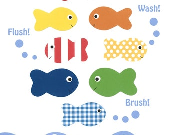 KIDS BATHROOM ART, Wash Flush Brush, Children's fish print, Ocean Bathroom decor, 8x10 print, Kids Nautical bathroom decor