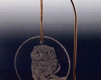 Glass owl christmas ornament engraved holiday decor