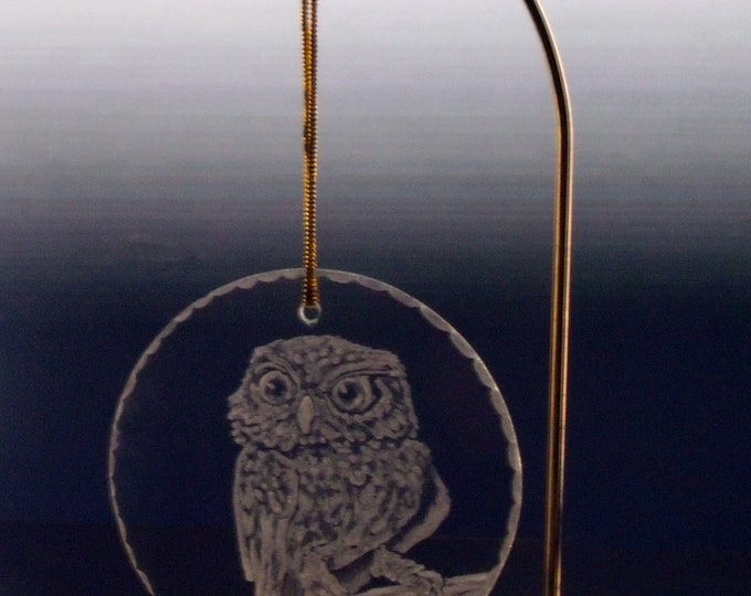 Glass owl christmas ornament engraved holiday decor