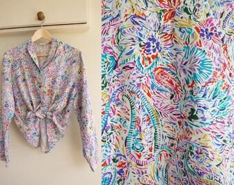 70s Shirt - KATE RICHARDS, Colourful Paisley Print, xs, small, medium