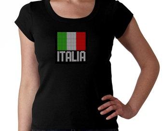 Italia RHINESTONE t-shirt tank top sweatshirt - S M L XL 2XL - Italy Flag Italian Bling