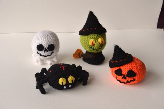 Halloween Crochet Set - Witch, Pumpkin, Ghost, Spider - Cute - Amigurumi - Plushie - Toy - Play Kit - Bulk CROCHET PATTERN No.45