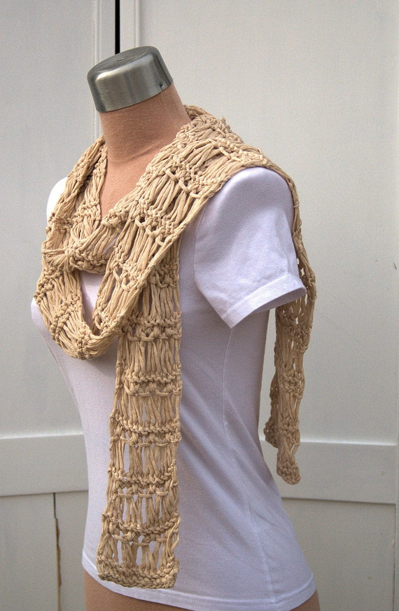 Natural Crossed Loop Lace Scarf Organic Cotton Long Women's Lace Scarf Hand Knit