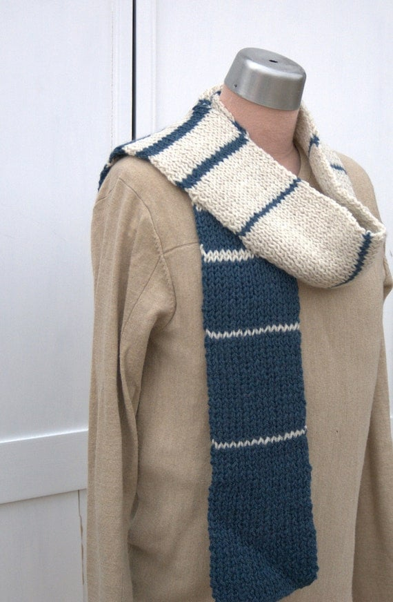 Blue and White Striped Mens Scarf Fibonacci Stripe Man Scarf Guy Hand Knit