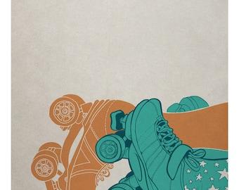Roller Derby Illustration Art Print - Skate Sex