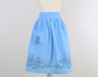 On Sale Vintage Blue Half Apron - 1970s Cotton with Butterfly Print