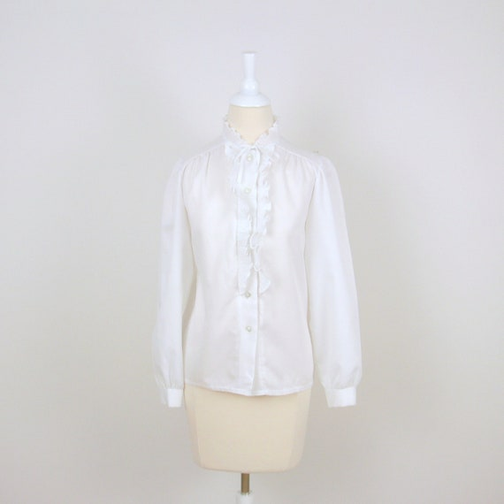 Vintage Edwardian Blouse - 1970s - White Ruffle - Small