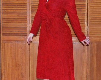 Rambunctious Red-volution 1970s Vintage Melissa Lane Blood Red Terry Cloth Long Sleeve Disco Dancing Dress Sz Medium / Large