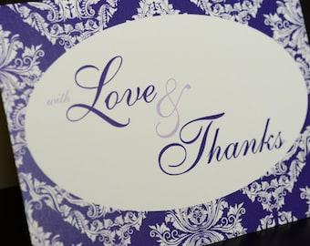 Damask Wedding/Thank You cards - Dozen (12) cards printed on cream paper
