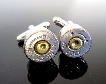 Nickel Colt 45 Bullet Cufflinks