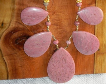 High Grade Rhodonite Fan Necklace Beautiful Teardrop Fan and Chain this Pink Gemstone is a Better Friend than Diamonds