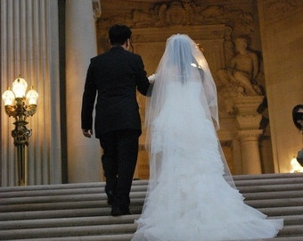 Drop veil 2 tier 108 inch cathedral wedding veil w/ 40 inch blusher, bridal veil, bridal veil, soft, simple, classic, elegant, plain, sheer