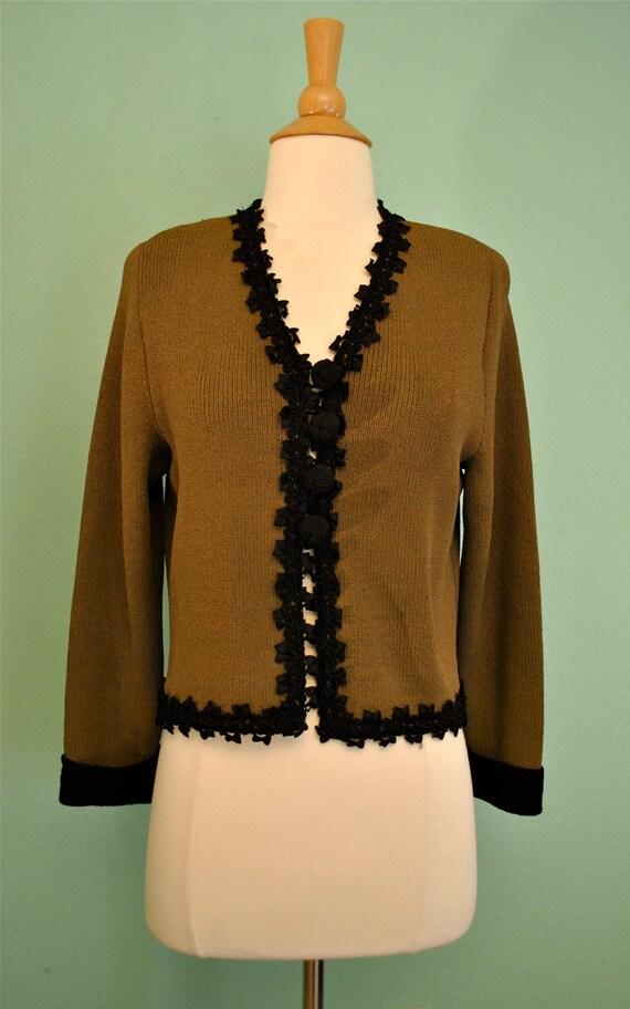 Vintage Cardigan Jacket Light Brown with Black Trim 20s 30s 40s 50s