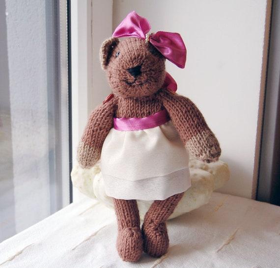 Christmas present. Christmas toy. Knitted Bear Toy. Teddy bear. Stuffed Bear toy.