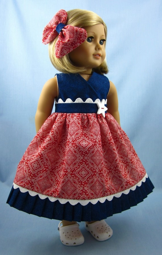 American Girl  Doll Clothes  - Sundress and Hair Bow in Red Bandana Print and Blue Denim