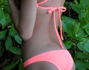 Bright Peach/Pink Low Cut Bikini Bottoms