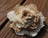 ooak natural burlap fabric flower rose bloom brooch. eco friendly