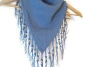 NOS Blue Handmade beaded fringed Bandana style Triangle Scarf PRICE REDUCED for the Holidays