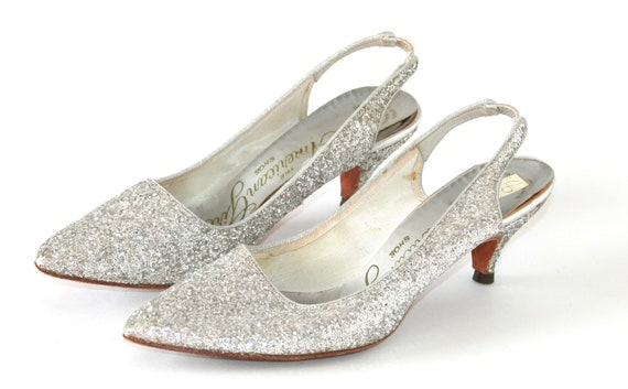 Glitter Kitten Heel Shoes | Tsaa Heel