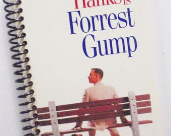 FORREST GUMP Notebook Journal upcycled spiral notebook Recyled Earth Friendly Blue Tom Hanks